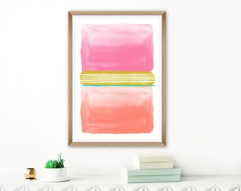 Pink Orange Abstract Art, Printable Watercolour Painting, Oversized Wall Art, Colourful Living Room Art, Kids Room Art, Nursery Decor
