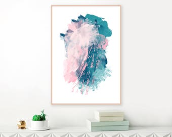 Teal and Pink Abstract Art, Large Abstract Painting, Downloadable Art, Modern Printable Wall Art, Original Wall Art, Instant Download Art