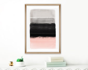 Oversized Printable Art, Modern Living Room Art, Blush, Grey and Black Minimalist Print, Large Bedroom Painting