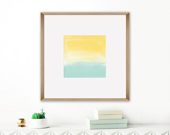 Yellow and Mint Watercolour Print, Colourful Contemporary Art, Printable Abstract, Square Painting, 20x20 Art Print