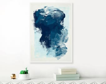 Printable Abstract Art, Navy Blue Prints, Abstract Painting, Oversize Abstract Art, Indigo Watercolour and Acrylic, Extra Large Wall Art