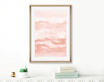 Blush Pink Abstract Art, Printable Watercolour Painting, Modern Watercolor Print, Blush Pink Wall Art