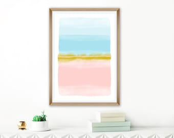 Large Watercolour Painting, Pastel Watercolour Print, Oversized Wall Art, Living Room Painting, Nursery Printable, Pink Blue Abstract Art