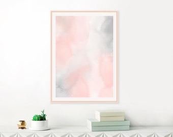 Abstract Watercolour Print, Blush Pink and Grey Painting, Nursery Painting, Bedroom Wall Art, Printable Download