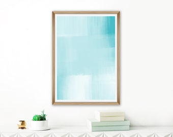 Minimalist Watercolour Print, Teal Blue Abstract Art, Printable Painting, Extra Large Wall Art, Living Room Art