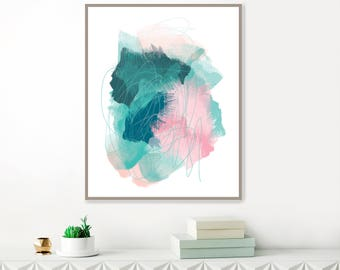 Abstract Mixed Media Painting, Pink Art, Pink, Teal Blue and Pink, Printable Modern Abstract Print, Original Wall Art