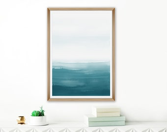 Ombre Wall Art, Teal Painting, Watercolour Painting, Calming Beach House Art, Oversized Art