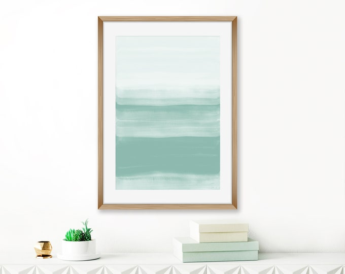 Pale Green Watercolour Print, Sage Green Abstract Art, Watercolor Painting, Living Room Art, Lounge Painting, Extra Large Wall Art