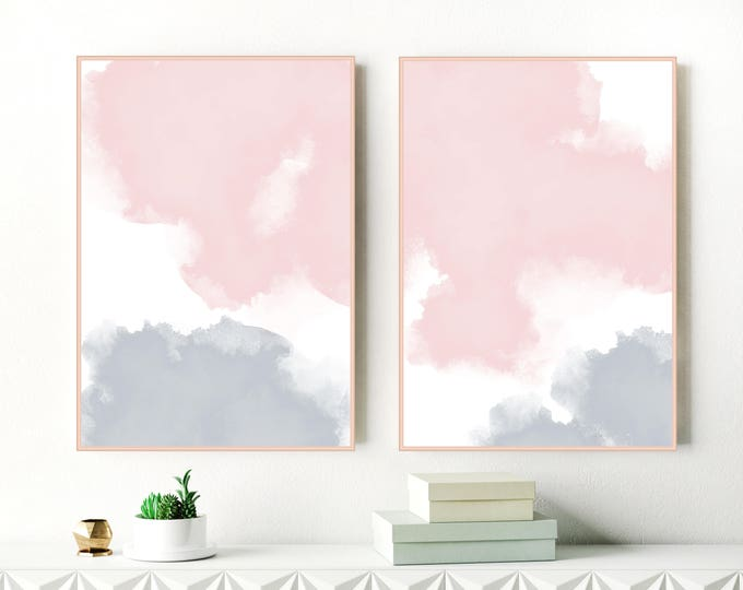 Blush Pink and Grey Watercolour Prints, Two Large Abstract Paintings