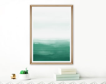 Green Abstract Art, Ombre Wall Art, Green Painting, Watercolour Painting, Calming Beach House Art, Oversized Art