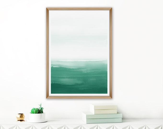 Green Watercolour Print, Oversized Art Print, Printable Wall Art, Calming Wall Art, Minimal Abstract Art, Beach House Decor, 24x36 Art Print