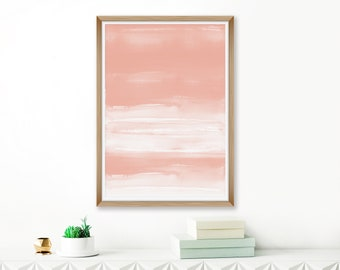 Abstract Art, Blush Pink Watercolor Painting, Tranquil Wall Art, Modern Living Room Decor, Oversized Abstract Painting