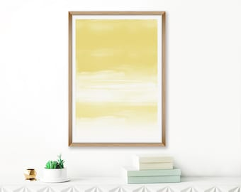 Yellow Watercolour Print,  Ombre Abstract Art, Oversized Wall Art, 24x36 Printable Painting