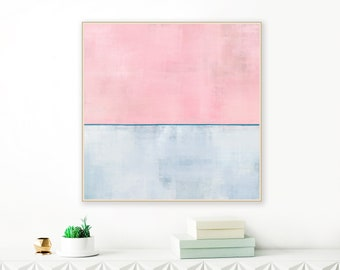 Large Abstract Art,  Pale Pink and Blue Painting, Minimalist Painting, Original Wall Art, Oversized Wall Art