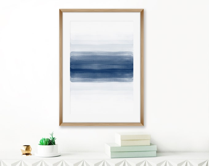 Minimalist Wall Art, Navy Blue Abstract Art, Modern Watercolor Painting, Indigo Living Room Art, Contemporary Abstract