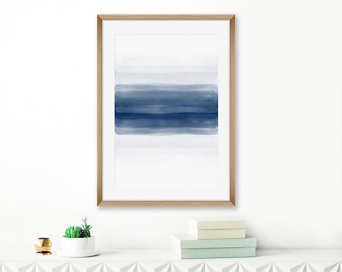 Minimalist Wall Art, Navy Blue Abstract Art, Modern Watercolor Painting, Indigo Living Room Art, Contemporary Abstract
