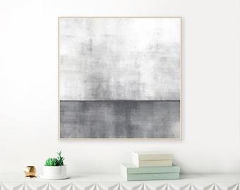 Grey Acrylic Painting, Oversized Lounge Painting, Formal Lounge Art, Modern Minimalist Print, Huge 40X40 Art Print, Giclee Print