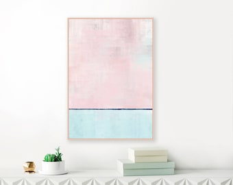 Abstract Art, Pink and Blue Painting, Modern Affordable Art Print, Minimalist Painting, Living Room Decor, Downloadable Nursery Art