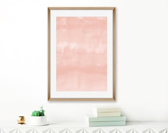 Blush Pink Abstract Art, Printable Watercolor Painting, Pale Pink Wall Art, Baby Girls Nursery Decor, Modern Minimalist Art