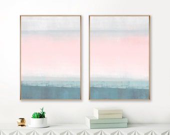 Pink and Teal Diptych Paintings, Set of 2 Large Abstract Prints
