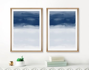 Navy Blue Watercolour Prints, Set of 2 Minimalist Paintings, Navy Indigo Abstract Art, Printable Wall Art