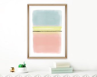 Large Minimalist Painting, Pink Blue Yellow Abstract Art, Printable Oversized Wall Art, Living Room Print, Bedroom Wall Art, Lounge Poster
