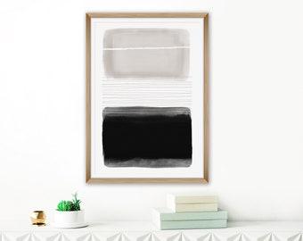 Monochromatic Abstract Art, Beige White Grey Art Print, Minimalist Living Room Art, Simple Modern Painting, Printable Art