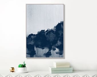 Blue Storm clouds Painting, Modern Abstract Painting, Navy Blue Abstract Art