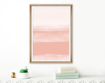 Pink Watercolour Print, Dusty Pink Abstract Art, Large Watercolor Painting, Pink White Wall Art, Printable Download