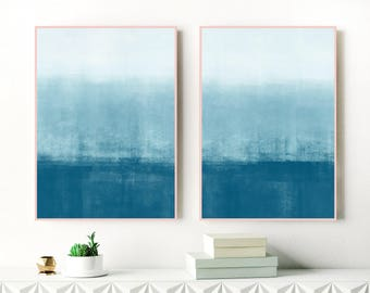 A Calming Set Of 2 Minimalist Abstract Paintings, 24x36 Modern Art Prints