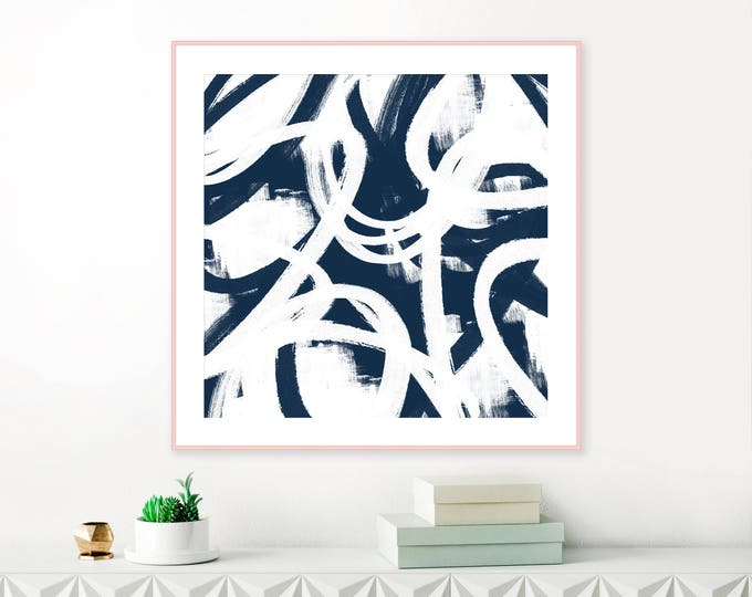 Blue Abstract Art, Printable Navy Blue Wall Art, Modern Printable Art, Navy Blue Decor, Contemporary Art