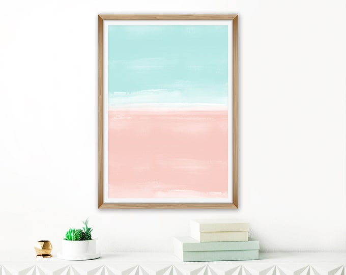 Pink and Mint Watercolour Print, Abstract Watercolour Painting, Pastel Living Room Art, Coastal Wall Decor