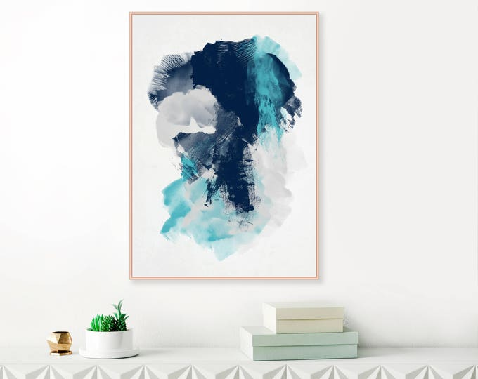 Blue Abstract Art, Blue and Grey Painting, Indigo, Navy Modern Printable Art, Original Wall Art, Download Art, Large Wall Art