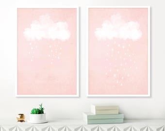 Pink Cloud Paintings, Art for Nursery, Pink and White Art, Set of 2 Prints, Printable Nursery Art