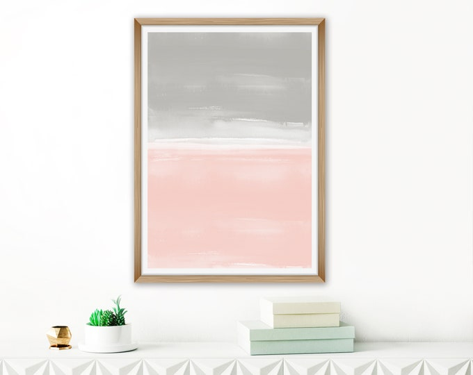 Blush Pink and Grey Abstract Art, Watercolour Painting, Oversized Abstract Art, 24x36 Print