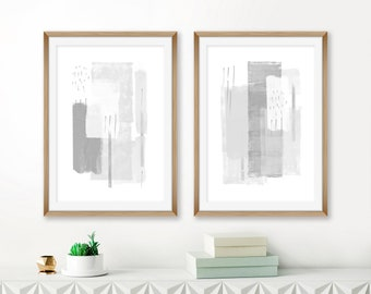 Grey Abstract Art, Grey and White Minimalist Paintings, Set of 2 Feature Wall Prints, Printable Minimal Art, Minimalist Modern Art