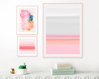 Colourful Gallery Wall Art, Set of 3 Abstract Art Prints, Pink, Grey and Orange Wall Art, Watercolour and Acrylic Wall Art