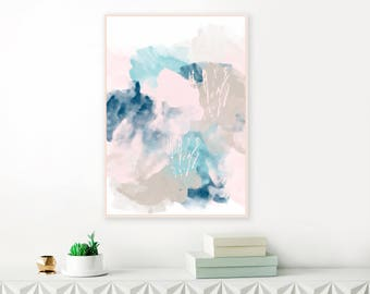 Original Abstract Art, Pink, Blue and Grey Instant download Painting