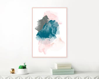 Teal and Blush Pink Abstract Art, Printable Watercolor and Acrylic Mixed Media Art Print, Modern Minimalist Painting, Living room Wall Art