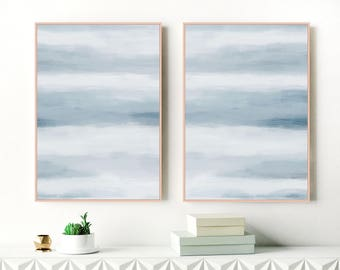 A Set of 2 Calming Art Prints, Blue Abstract Paintings