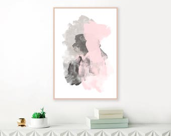 Pink and Grey Abstract Painting, Large Pink and Grey Contemporary Art Print