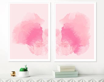 Pink Modern Art Prints, Pink Abstract Art, Set of Two Large Pink Paintings, Watercolour & Acrylic, Printable Nursery Art, Original Wall Art