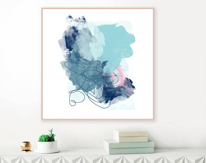 Blue Abstract Print, Navy Blue and Aqua Abstract Painting, Downloadable Art, Original Contemporary Wall Art