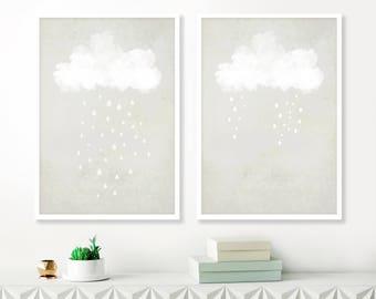 Cloud Paintings, Grey and White Wall Art, Gender Neutral Nursery Art, Set of 2 prints, Large wall art, Printable Boys Nursery Art