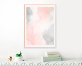 Blush Pink and Grey Watercolour Painting,  Soothing Abstract Art, Nursery Wall Art, Printable Download, Above Bed Decor