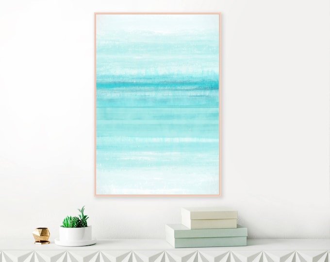 Calming Abstract Print, Mint Painting,  Minimalist Watercolour and Acrylic Print