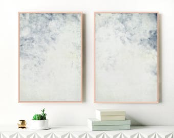 Blue Abstract Art, Set of Two Pale Blue Art Prints, Two Large Blue Abstract Paintings, Printable Modern Art, Original Art, Extra Large Art