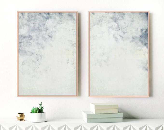 Calming Abstract Art, Set of Two Prints, Pale Blue Art, Large Abstract Paintings, Modern Wall Art, Extra Large Wall Art, Scandinavian Art