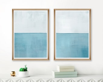 Large Abstract Art, Pale Blue Abstract Art, Set Of 2 Prints, Modern Minimalist Art,  Coastal Home Decor, Beach house Decor