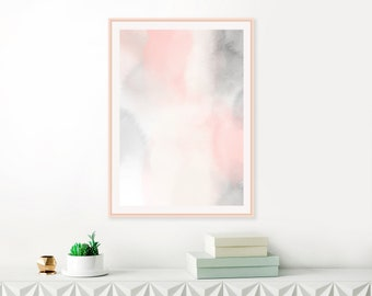 Serene Watercolour Print, Blush Pink and Grey Abstract Art, Large Watercolor Painting, Blush Pink Wall Art, Printable Wall Art
